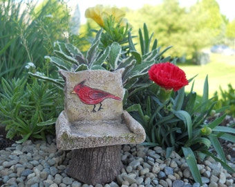 """Red Cardinal 3"""" Chair for the Fairy Garden"""