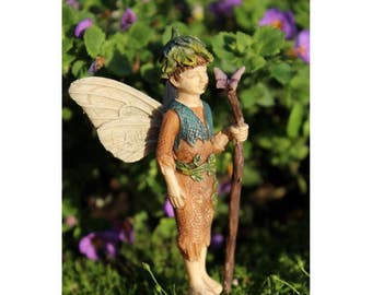 "Fairy Lucas Holding a Staff with Butterfly (3.25"") with Metal Pick for the Fairy Garden"