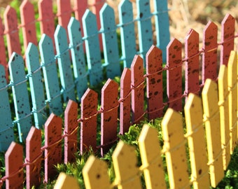 Cheerful Fences for the Fairy Garden (Yellow, Plum, Blue or Salmon)