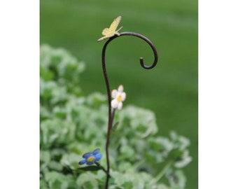 "Bloomin' Flowers Shepherd's Hook 8"" Metal Handpainted for the Fairy Garden"