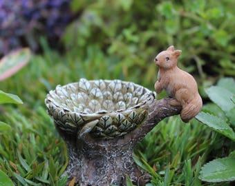 """Sammy Squirrel Bird Bath 2.5"""" for the Fairy Garden"""