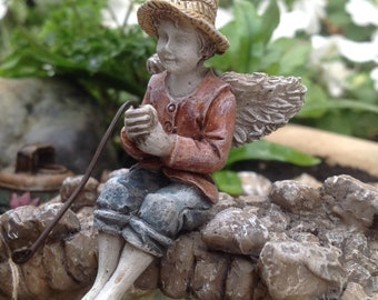 "Fairy Maddox Holding His Fishing Pole (3.25"") with Metal Pick for the Fairy Garden"