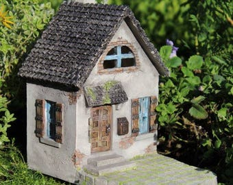 "Hollybrook Mini House with Hinged Door (5.75"" Tall) and Front Porch for the Fairy Garden"