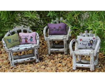 Fairy Pillows (Believe, Fairy Hugs, Friends or Live-Laugh-Love) 1.25 Square (Chairs Not Incl.) for the Fairy Garden