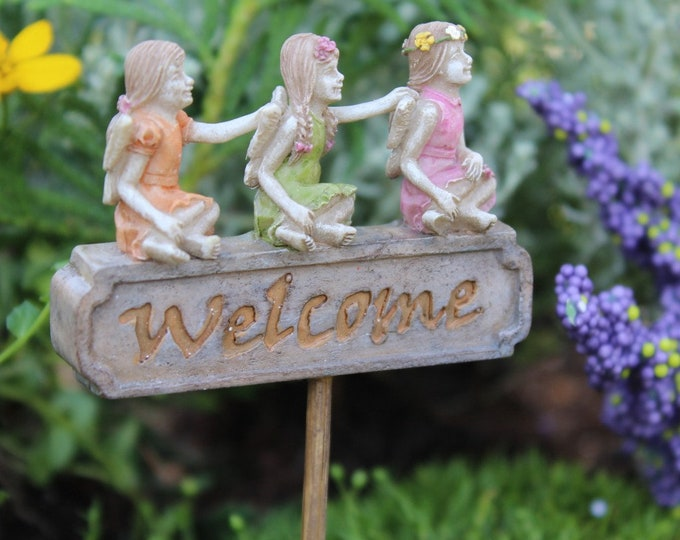 """Welcome Trio w/3Fairies ..5"""" Tall   2"""" Wide   3″ Bamboo Pick for the Fairy Garden"""