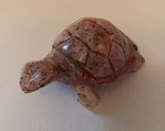 """Pink Handcarved Soapstone Turtle 1"""" (Colors vary) for the Fairy Garden"""