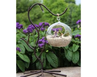 Hanging Terrarium w/Bronze Metal Stand (full-size) 2-piece set 13.5″ Tall | 10″ Wide | 9″ Deep   Glass Ball: 5″ Diameter (Contents not Incl)