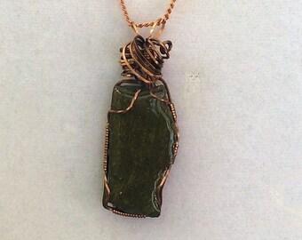 Michigan Copper Ore in Green Matrix Copper Wrapped Pendant
