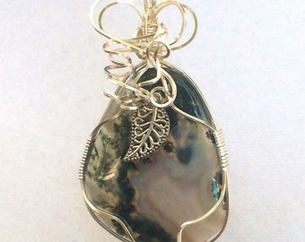 Green Moss Agate Wrapped in Silver Pendant with chain