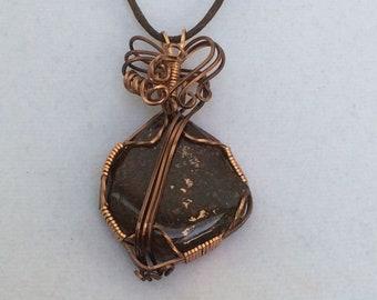 Michigan Copper Ore in Matrix Wrapped in Copper Pendant