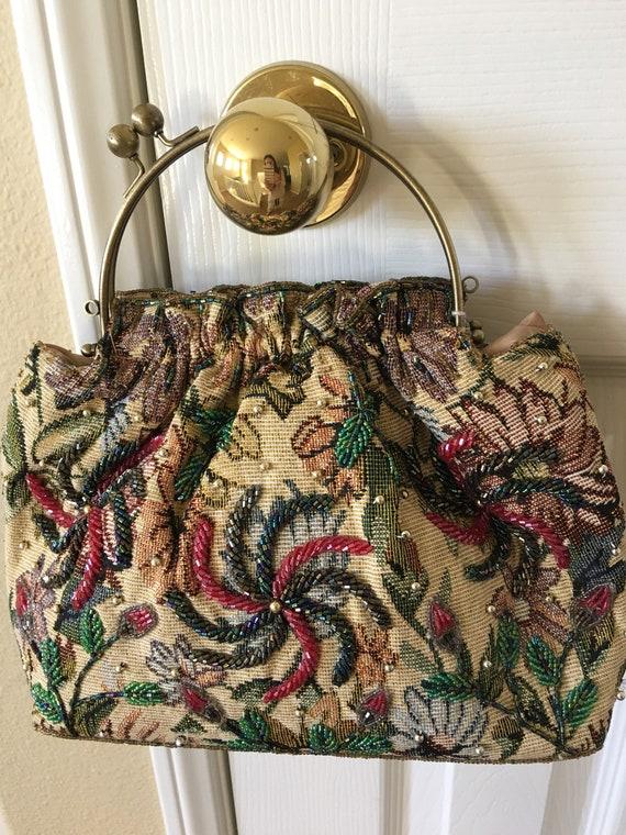 Vintage 50s beaded tapestry handbag