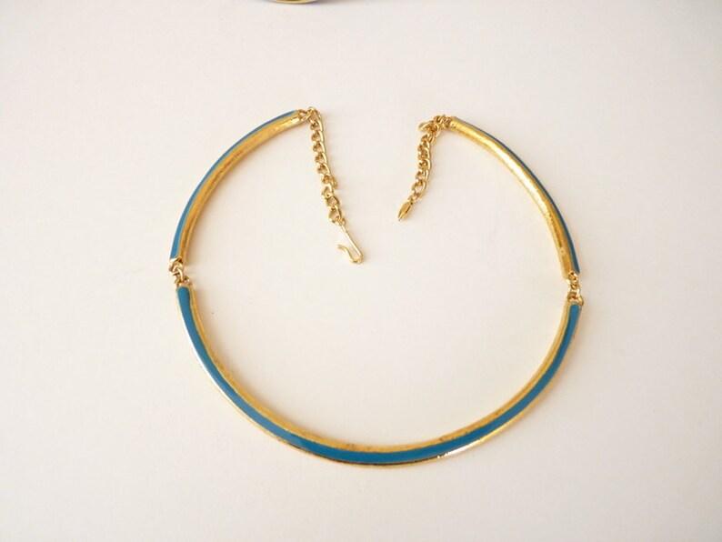 Vintage Blue Enamel Choker Necklace Bangle Bracelet and  Earrings Set in Gold