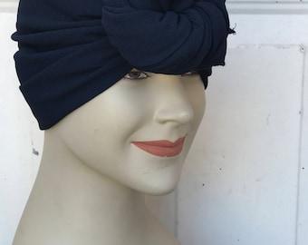 Multi Use Georgette Handkerchief Scarf - Navy Blue