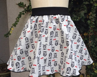 Toddler 3T Elastic Gathered Skirt - Owls 3T