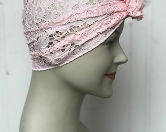 Lace Hair Scarf - Soft Pink