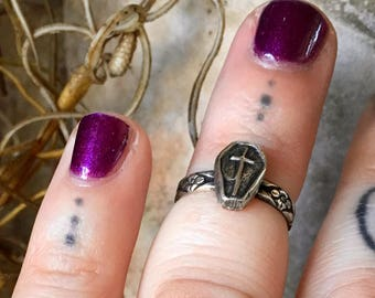 Black No. 1 Ring - Coffin Sterling Silver Midi Ring - YOUR SIZE - Handcrafted - Halloween - Band - Both - Witchy - Boho - Bohemian