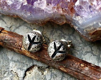 Elhaz (Algiz) Rune Post Earrings - Sterling Silver - Post - Runic - Boho - Bohemian - Witch - Runestone
