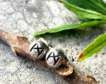 Mannaz (Man) Rune Post Earrings - Sterling Silver - Post - Runic - Boho - Bohemian - Witch - Runestone