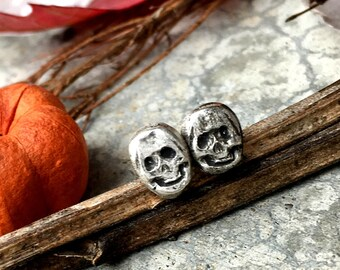 Skully Earrings - Sterling Silver Skull Post Earrings - Handcrafted - Boho - Gypsy - Goth - Halloween - Stud