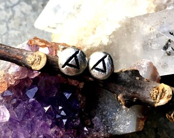 Thurisaz (Thorn) Rune Post Earrings - Sterling Silver - Post - Runic - Boho - Bohemian - Witch - Runestone - Thor