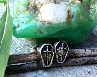 Loving You Was Like Loving The Dead - Sterling Silver Coffin Post Earrings - Stud - Handcrafted - Halloween - Witch - Goth - Type O Negative