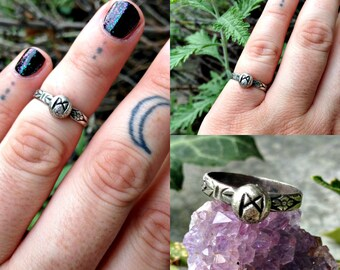 Mannaz (Man) Rune Sterling Silver Band Ring Made To Order - CHOOSE YOUR SIZE - Midi Ring - Runic - Runestone - Floral - Boho Bohemian Witch