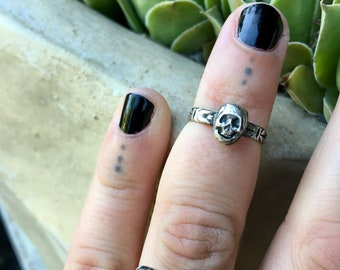 Mini Skully Sterling Silver Handcrafted Ring - Midi Ring - Made to Order - Your Size - Floral Etched Band