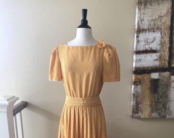 Vintage Albert Nipon 1980s Does 1930s Yellow Polka Dot Day Dress Size Med/Lrg