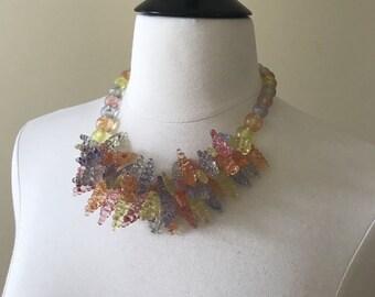 Vintage 1950s 1960s Plastic Lucite Pastel Beaded Fruit Grapes Statement Necklace