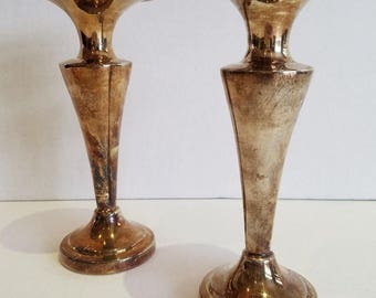 Vintage Wm. A. Rogers Silverplate Fluted Candle Stick Holders (Pair)