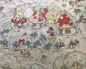 "Vintage 1970s 1980s Smurfs Twin Flat Sheet 64""x96"""
