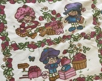 "Vintage 1980s Esmond Strawberry Shortcake Twin Blanket Bedspread 105""x77"""