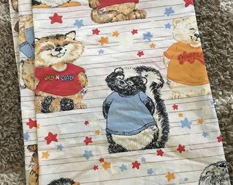 "Vintage 1980s Shirt Tales Twin Flat Sheet 69""x94"""