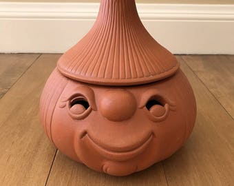 Vintage Large Anthropomorphic Smiley Face Terra Cotta Onion Keeper Container