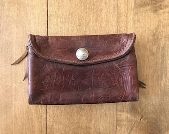 Vintage Tooled Leather Unisex Buffalo Nickel Button Wallet
