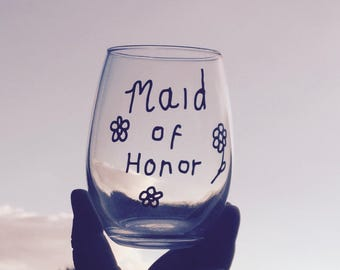 Clearance/sale Stemless Maid Of Honor Wine Glass, Maid of Honor Gift, Hen Night Gifts, Wedding Party Gifts, Maid of Honor Gifts, Bridesmaids