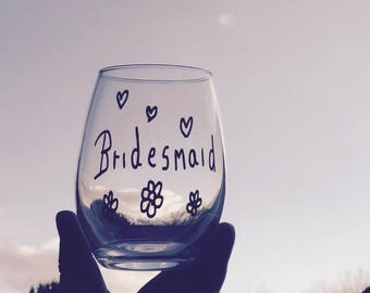 Clearance/sale Stemless Bridesmaid Wine Glass, Bridesmaid Gift, Hen Night Gifts, Wedding Party Gifts, Bridesmaid Gifts, Bridesmaids Wine