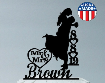 Personalized Wedding Cake Topper, Personalized With YOUR Family Last Name and Wedding Date, Silhouette Cake Topper Groom Lifting Up Bride