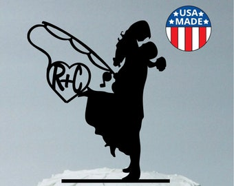 MADE In USA, Fishing Themed Wedding Cake Topper,  Personalized Fishing Wedding Cake Topper, Fishing Cake Topper Silhouette Cake Topper Fish
