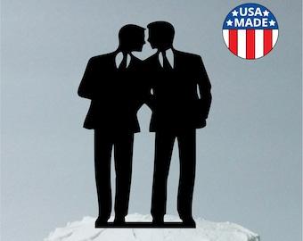 Gay Wedding Cake Topper Same Sex Cake Topper Gay Cake Topper Gay silhouette Homosexual Wedding Cake Topper For Men Gift, MADE in the USA