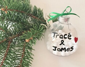 PERSONALIZED Ornament Personalized with Couples Names, Christmas Tree Ornament, Hand Painted Christmas Ornament, Couples First Christmas
