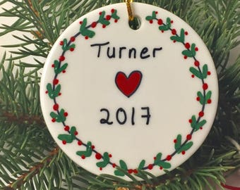 Personalized Name & Year Christmas Ornament, Gift For Boyfriend, Gift For Girlfriend, Gifts Under 20 Gift Under 25 Gift For Coworker Friend