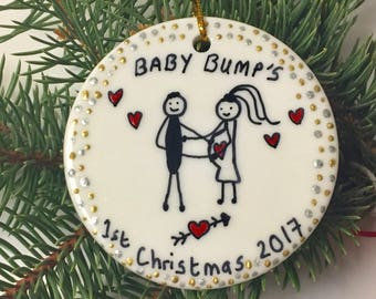 Personalized Bumps first Christmas Pregnant mom gift Pregnant gift Pregnant christmas ornament Pregnancy announcement ornament Baby reveal