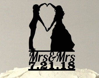MADE In USA, Personalzied Lesbian Wedding Cake Topper, Same Sex Cake Topper, Gay Wedding Cake Topper LGBT Mrs and Mrs Wedding Cake Topper