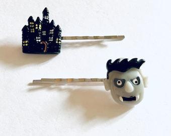 Dracula & His Castle Halloween Bobby Pins Hair Clips, Vampire Barrettes Count Dracula Hair Accessories Women Girls Spooky Cute Goth Gothic