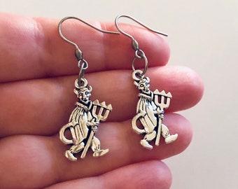 Devil Earrings, Silver Devil with Pitchfork Earrings, Demon Halloween Earrings Jewelry, Stainless Steel Fish Hooks