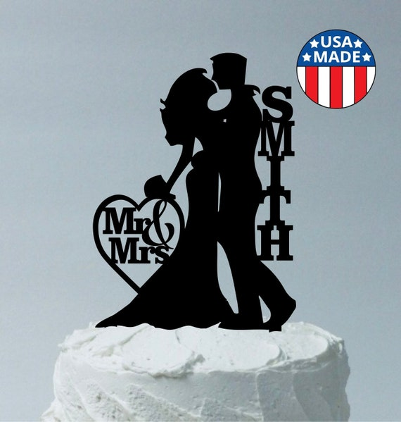 Grinde NO Silhouette Bride and Groom Cake Topper Personalized Wedding Cake Decoration Black