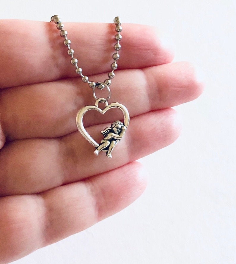 Heaven Sent Wings Stainless Steel Ball Chain Dainty Pretty Cherub Necklace Baby Angel Cherubs Silver Necklace