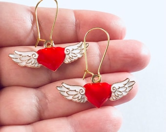 Angel Wings with Red Hearts Gold Earrings, Wings Earrings, Angel Earrings, Heaven Cherubs Enamel Valentine's Day