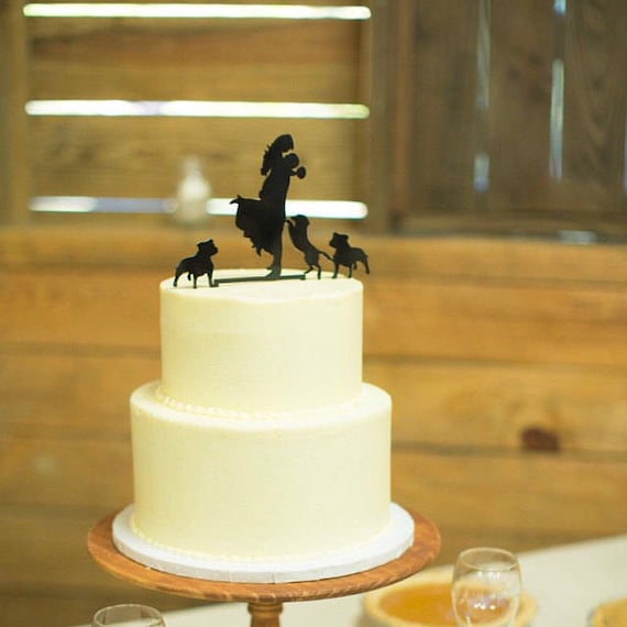 Wedding Cake Topper with Pet Dog Silhouette Cake Topper | Etsy